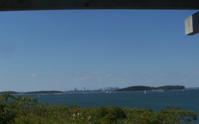 View of Boston and other harbor islands from Bumpkin Island.