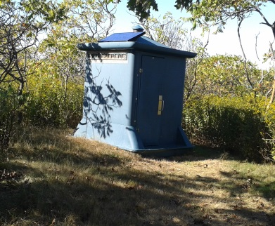 solar powered composting toilet on Bumpkin Island.