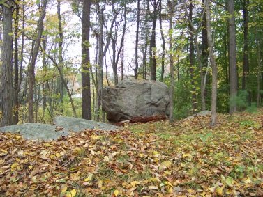 glacial irratic in cushing woods
