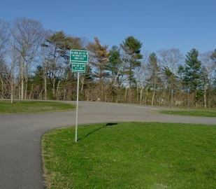 Circular parking area for the boat ramp at forge pond park.