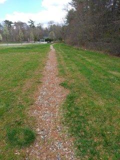 narrow gravel trail leading to Hanover fireworks trail
