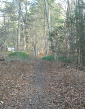 trail leads thru double granite posts on indian head trail