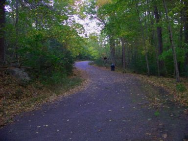 Trail beginning at the Leavitt St entrance to Wompatuck State Park.