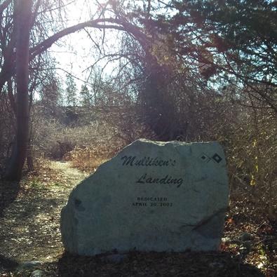 Mulliken's landing stone sign in kingston on landing rd.