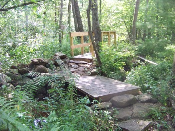 double bridge in heart of  Rockland Town Forest