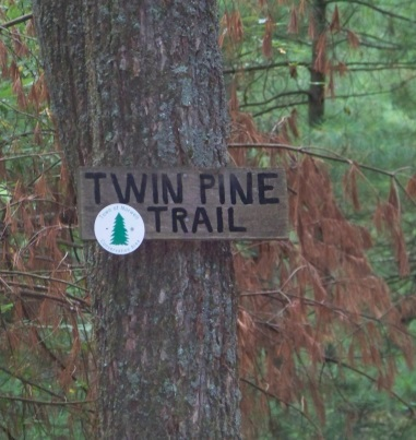 twin pine trail sign at stetson meadows