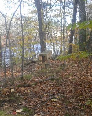 bench above the scenic indian head river at tucker preserve