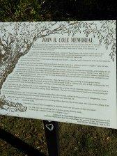 John B. Cole memorial sign