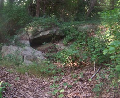 rock formation in weir river woods